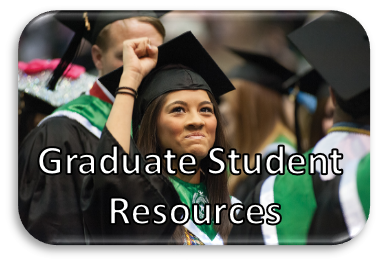 A photo of a student in graduation regalia with her fist in the air, Graduate Studies Resources written on the photo.