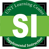 Image that says UNT Learning Center Supplemental Instruction with the letters SI in the center.