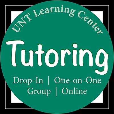 Graphic art that says UNT Learning Center Tutoring, drop-in, one-on-one, group and online.